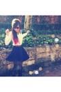 Black-random-tights-brown-h-m-belt-navy-valleygirl-skirt