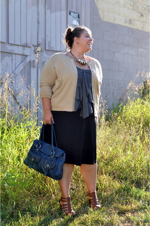 black Walmart skirt - gold H&M necklace - camel Walmart cardigan