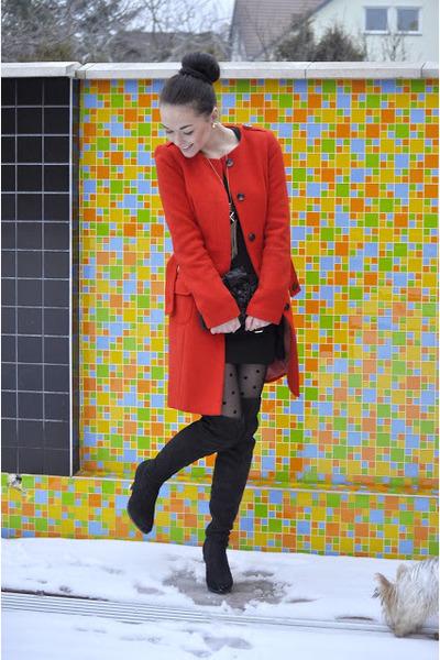 coat - dress - bag - new look earrings - heels - accessories