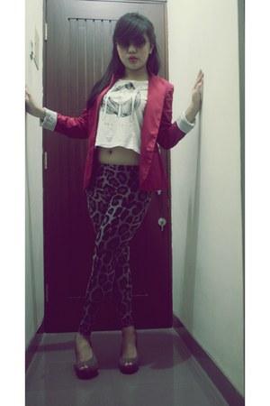 hot pink stardivarious blazer - gray unbranded tights - white Zara top
