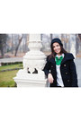 Black-wool-zara-coat-green-bow-tie-vania-szasz-accessories