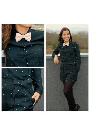 beige bowtie Vania Szasz accessories - black polka dots Zara shirt