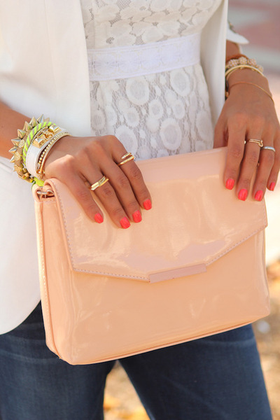 peach asos purse