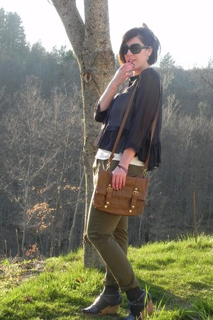 camel satchel Primark bag - sky blue wedged Topshop sandals - army green chino T