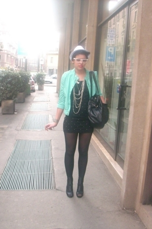 H&M jacket - H&M dress - H&M necklace - H&M purse - Zara shoes