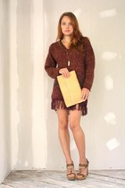 maroon Vantage Point Vintage dress - light yellow Vantage Point Vintage purse -