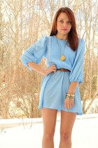 light blue Vantage Point Vintage dress - navy Vantage Point Vintage coat - H&M b