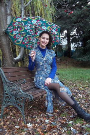 black boots - floral dress - blue turtle neck shirt - black stockings