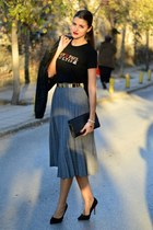 pleated Makis Tselios skirt - jean paul gaultier t-shirt - Zara heels