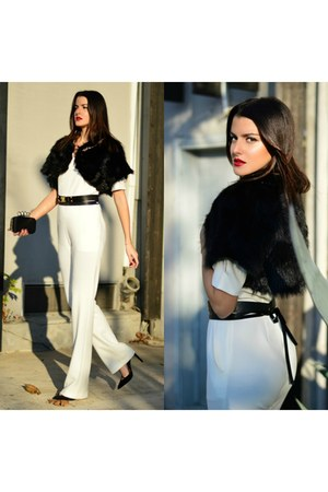 faux fur coat - white jumpsuit bodysuit