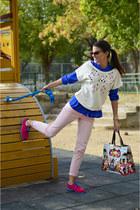 Pull & Bear sweater - asos shirt - Mary Katrantzou for Longchamp bag
