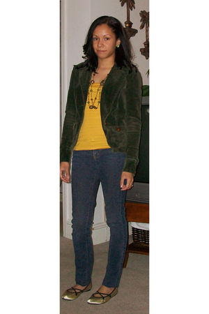 green delias blazer - gold H&M shirt - blue Truck Jeans Alloy jeans - yellow So