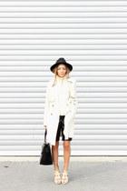 ivory trench coat Primark coat - black fedora Primark hat