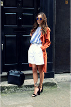 blue breton stripe Zara top - carrot orange duster coat Miss Selfridge coat