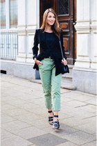 black black blazer blazer - olive green chino pants Zara pants - black t-shirt