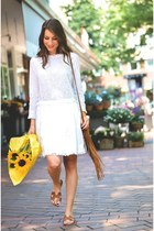 white dress - brown fringe bag bag - bronze sandals