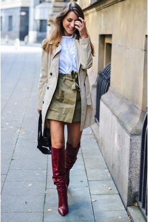 white ruffle blouse Zara blouse - brick red leather boots boots