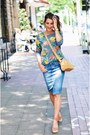 Silver-floral-sweater-sweater-nude-leather-bag-bag-blue-skirt