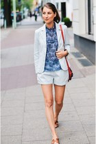 light blue cotton shorts - light blue cotton blazer blazer - sky blue shirt