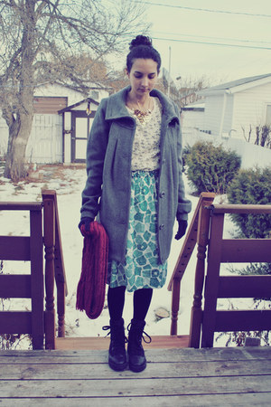 heather gray Esprit coat - ivory Yesstyle shirt - self-made skirt