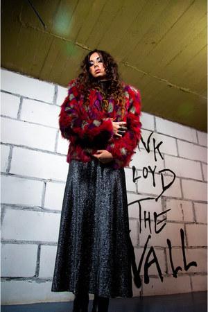 brocade vintage dress - fake fur Rebecca Stella jacket