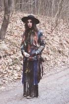 fringed vintage dress - River Island boots - Catarzi hat