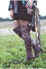 Velvet-no-name-dress-light-brown-over-the-knee-bronx-boots-catarzi-hat