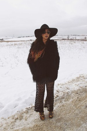 patchwork Jeffrey Campbell shoes - mongolian asos coat - Catarzi hat