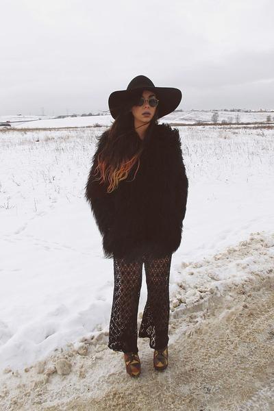 patchwork Jeffrey Campbell shoes - mongolian asos coat - Catarzi hat