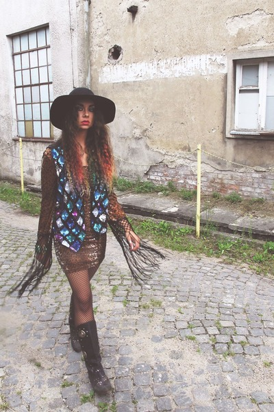 sequined Beyond Retro vest - vintage boots - fringe evil twin dress