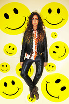 leather Topshop pants - River Island boots - H&M jacket - vintage skirt