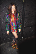 Jeffrey Campbell shoes - sequined vintage blazer - rainbow vintage shirt