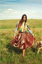 rainbow Orsay shirt - vintage jacket - vintage skirt