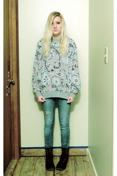 heather gray sweatshirt - navy velvet docs boots - sky blue jeans