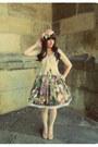 Cream-lace-secondhand-blouse-dark-green-handmade-skirt-pink-ebay-pumps