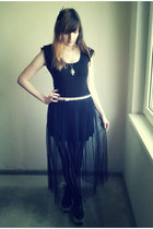 black Promod skirt - black lace shirt H&M shirt