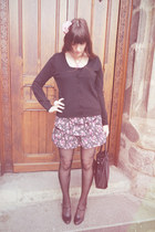 pink flower and dots c&a skirt - black dotted tights H&M tights