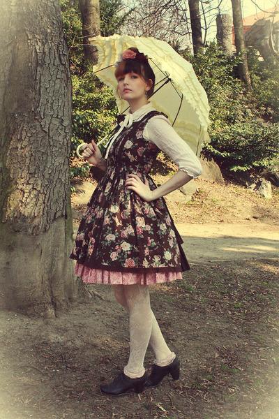 dark brown Innocent World dress - ivory lace tights H&M tights