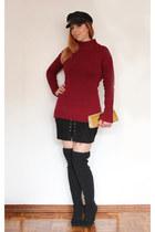 NewYorker boots - zaful dress - zaful hat - Rosegal earrings - AmiClubWear skirt