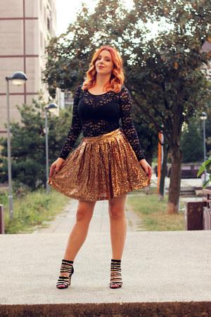 black Zara shirt - yellow gold Yoins skirt