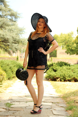 black AmiClubWear bag - black sammydress swimwear - black sammydress top