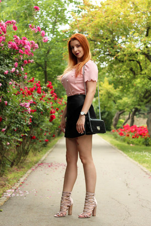 pink shein top - Mockberg watch - pink AmiClubWear heels - zaful skirt