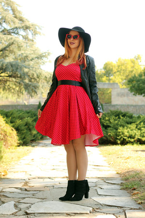 OASAP hat - black AmiClubWear boots - Rosegal dress - Emblem Eyewear sunglasses