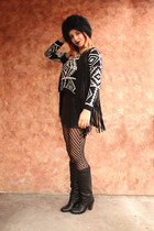 black DressLink socks - black fur Newdress hat - aztec DressLink sweater