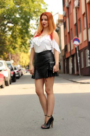 black Fashion71 skirt - white Rosegal top - black zaful heels
