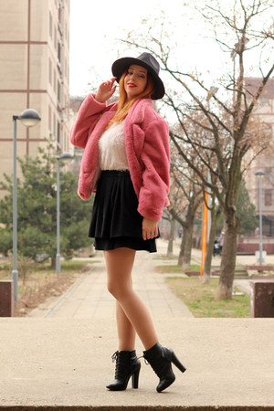 zaful coat - Newchic hat - zaful sweater - Kitten heels