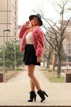 zaful coat - Newchic hat - zaful sweater - Kitten heels