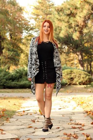 black lookbookstore top - aztec lookbookstore cardigan - black AmiClubWear skirt
