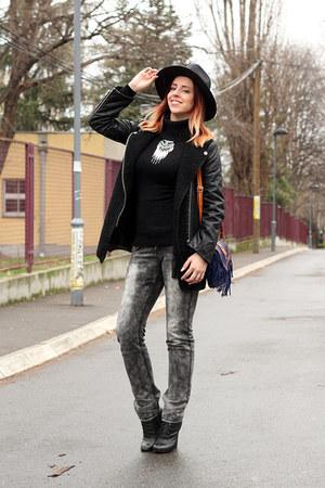 blue AmiClubWear bag - black Kitten boots - black EliteFashion99 coat