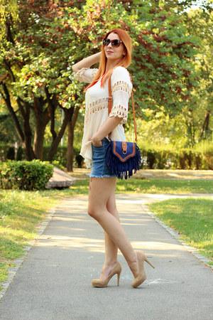 beige twinkledeals top - blue AmiClubWear bag - jeans twinkledeals shorts